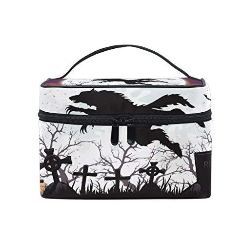 ake-up Kosmetiktasche Tasche,Travel Cosmetic Bag Halloween Wolf Cemetery Moon Toiletry Makeup Bag Pouch Tote Case Organizer Storage for Women Girls ()