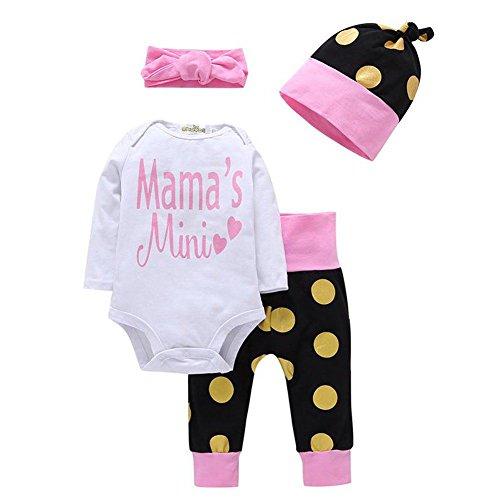 Jungen Mädchen Kleidung Mama Mini Langarm Top Strampler + Polka Dots Hosen + Polka Dots Hut + Bowknot Stirnband Outfit für 0-18 Monate Baby (4 Monat Alte Halloween-kostüm Ideen)