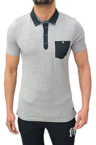 Genetic Apparel Designer Uomo Casual Vari Stili Piquet manica corta Polo T Shirt T 9colori Grey Madrid XL