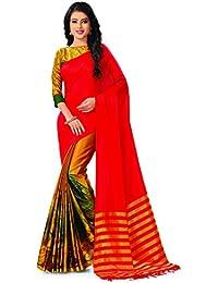 Venisa Women's Cotton Saree (Y006_Red)