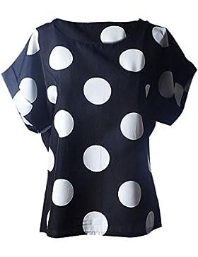 LuckyGirls Camisetas Mujer Manga Corta Verano Lunares Remeras Blusas Camisas