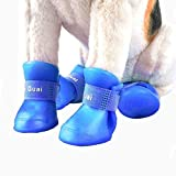 VICTORIE Dog Rain Shoes Waterproof Protective Boots for Small Medium Large Dogs blue 4pcs (XXLnew, blue)