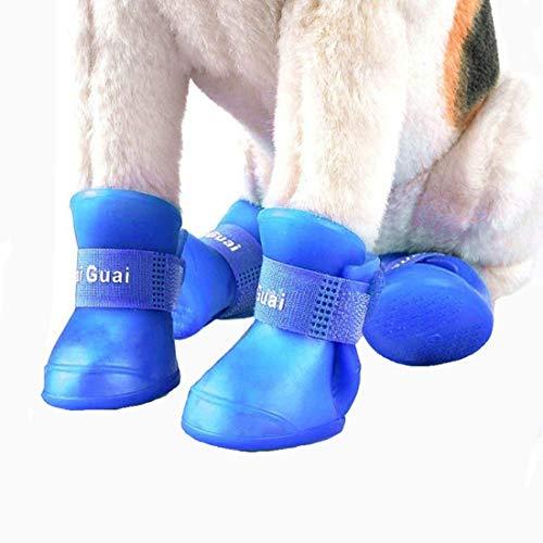 VICTORIE Zapatos Perro Botas Impermeable Antideslizante Lluvia para Mediano y Grandes Perros Azul 4 Pedazo(XXL: 7.0 X 9.0 CM)