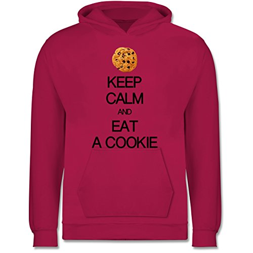 Up to Date Kind - Keep Calm and eat a Cookie - 7-8 Jahre (128) - Fuchsia - JH001K - Kinder Hoodie