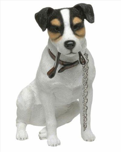 Leonardo Hundefigur LP11110: Sitzender Jack Russell Terrier mit Leine im Mund -