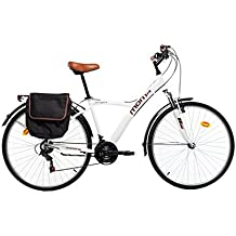 "Moma Bikes Bicicleta Paseo Hibrida SHIMANO 18 vel. Aluminio, ruedas de 28"", suspension"
