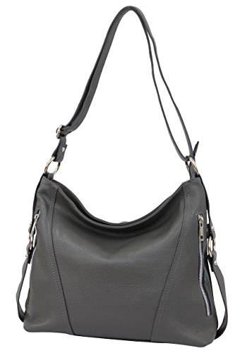 AMMBRA Moda Italienische Damen echt Ledertasche Handtasche Schultertasche Beutel Umhängetasche GL017 Dunkelgrau
