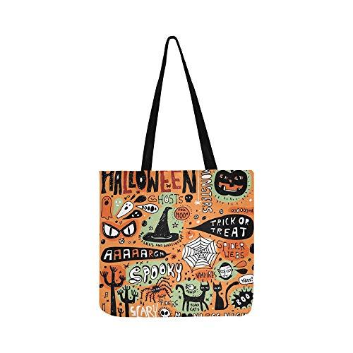 Halloween Doodle Elemente Leinwand Tote Handtasche Schultertasche Crossbody Taschen Geldbörsen Für Männer Und Frauen Einkaufstasche