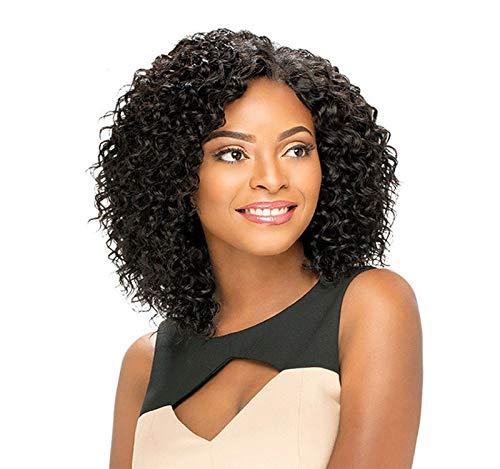 GreatFun16 Zoll Perücken Frauen Schwarze Perücken Synthetische Brasilianische Afro Verworrene Kurze Bob Lockige Perücken Wasserwelle Lace Front Perücke für Frauen Cosplay Kostüm Damen Perücke Party