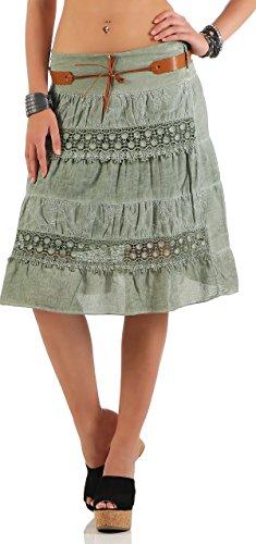 malito estate gonna con cintura tratto minigonna 16167 Donna Taglia Unica Oliva