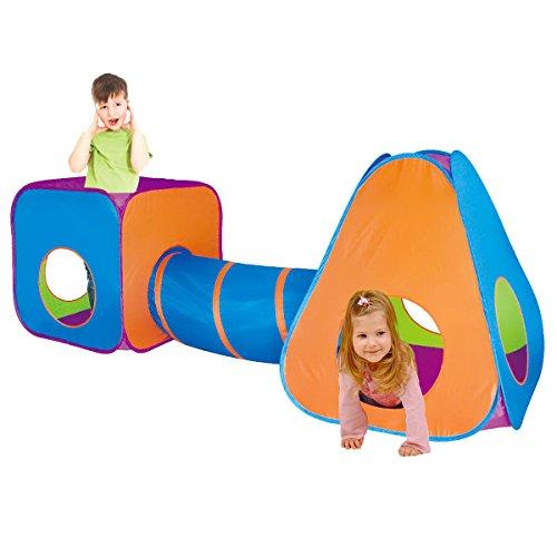 Charles Bentley - Kinder Abenteuer-Spielzelt-Set mit Tunnel 3 in 1 - Pop-Up-Mechanismus - für drinnen & draußen