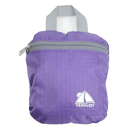 yeahjoy 20L leichter Travel Gear Faltbare Rucksack Wandern Daypack Radfahren Schule Air Reisen Carry On Rucksackreisen für Damen und Herren Violett