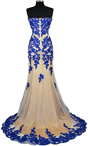 Fanciest Women's Appliques Mermaid Abendkleid Dresses Spitzen Formal Evening Kleid Royal Blue