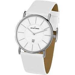 Jacques Lemans York 1-1620E Men's White Leather Strap Watch