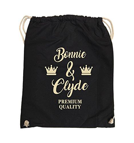 Comedy Bags - Bonnie & Clyde - PREMIUM MOTIV - Turnbeutel - 37x46cm - Farbe: Schwarz / Silber Schwarz / Beige