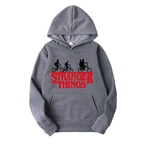 Ketamyy Herren seltsamere dinge hoodys hoodies samtfütterung hip hop sport bike graphic printed jumper pullover loose fit plus-pullover m dunkelgrau