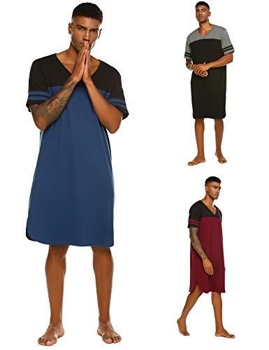 Nachthemd Herren Schlafanzug V-Ausschnitt Kurz nachthemden männer Schlafshirt Einteiliger Sommer kurzarm Blau XXXL -