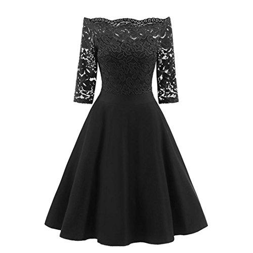 Kleid Damen New Vintage Spitze Patchwork Schulterfrei Cocktailparty Retro Schaukel Kleid (Schöne Baumwolle Kleid)