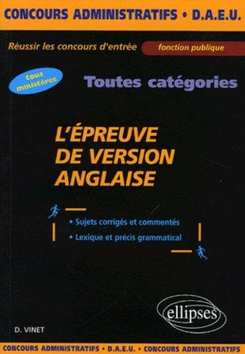 L'épreuve de version anglaise