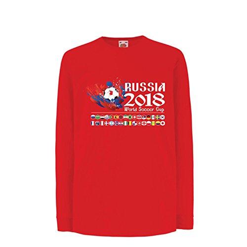 lepni.me Kinder-T-Shirt mit Langen Ärmeln Russland-Weltcup-Cup 2018, alle 32 nationalen Fußballmannschaft Flaggen (12-13 Years Rot Mehrfarben) (Wwe Tickets)