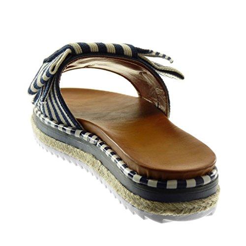 Angkorly Chaussure Mode Sandale Mule Slip-On Plateforme Femme Noeud Lignes Bicolore Talon Plat 3.5 cm Bleu foncé