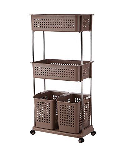 Kleideraufbewahrung Korb Badezimmer Kunststoff Regale Storage Baskets (6 Farben, 2 Größen Verfügbar) ( farbe : Braun , größe : L*W*H:56*34.5*120cm )