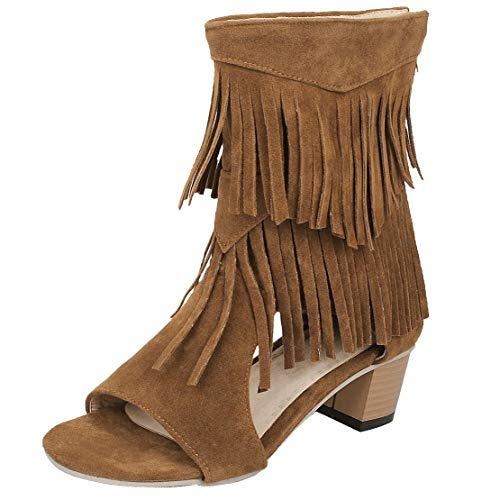 KIKIVA Damen Chunky Heel Sommer Stiefeletten mit Fransen und Reißverschluss Blockabsatz Open Toe Moderne Sommer Schuhe (EU 38, Braun) -
