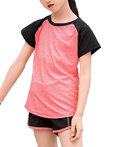 Echinodon Mädchen Sport Set Shirt + Shorts Schnelltrockend Anzug für Yoga Jogging Training Rot