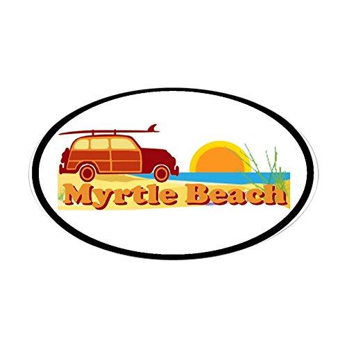CafePress-Myrtle Beach SC-Surfen Design Oval Aufkleber-oval Bumper Sticker KFZ Aufkleber, weiß, Large - 4.5x7.5
