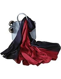 3046ba5d8236 W.Best Femme Foulard 100% Soie Grande Echarpe Châle Ultra-Léger Respirant  Elégant
