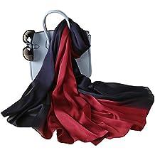 W.Best Femme Foulard 100% Soie Grande Echarpe Châle Ultra-Léger Respirant  Elégant 2a2af7928ab