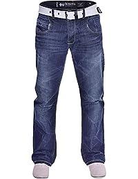 Crosshatch Mens Crosshatch Hardwearing Durable Quality Denim Jeans Straight Leg Dark Blue