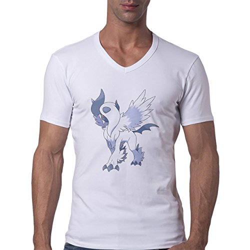 Pokemon Absol Standing White And Blue Herren V-Neck T-Shirt Weiß