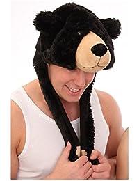 Womens Faux Fur Novelty Hat-Scarf In Bear Design Warm Winter Thermal Fashion Hat