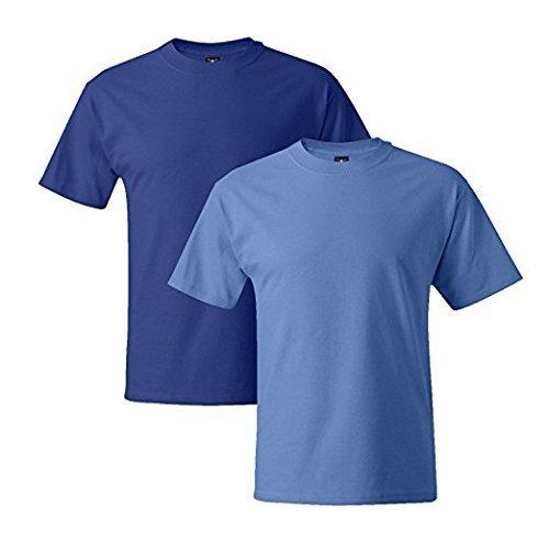 Hanes Mens 5180 Short Sleeve Beefy T, 1 Carolina Blue/1 Deep Royal 1 Carolina Blue / 1 Deep Royal