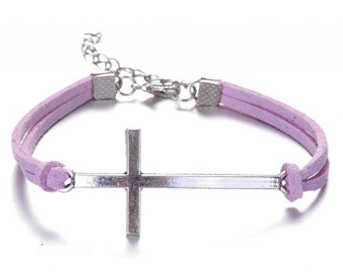 Infinite U (Achetez 1 obtenez 2) Croix Artificiel Cordon en Cuir Petit Femme Bracelet/Bangle Argent Antique-6 Couleurs Options Violet