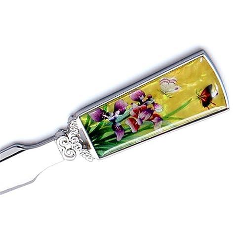 Mother of Pearl Yellow Flower Metal Steel Knife Sword Blade