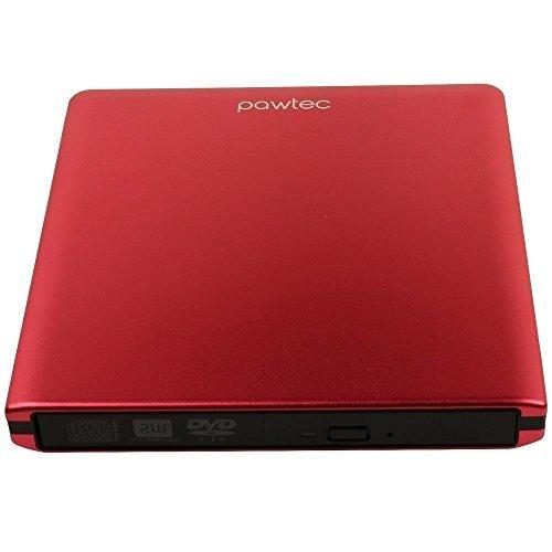 Pawtec Externer USB 3.0Aluminium 8x DVD-RW Brenner Optisches Laufwerk für PC Windows & Mac (rot)