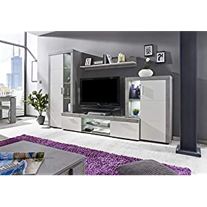 Newfurn Wohnwand Anbauwand Modern Wohnzimmerschrank Wohnlandschaft Mediawand Fernsehschrank II 291x197x 41 cm (BxHxT) II…