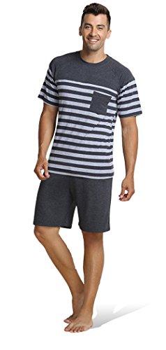 hombres pijama Ropa de noche de cuello redondo de verano de los corto conjunto