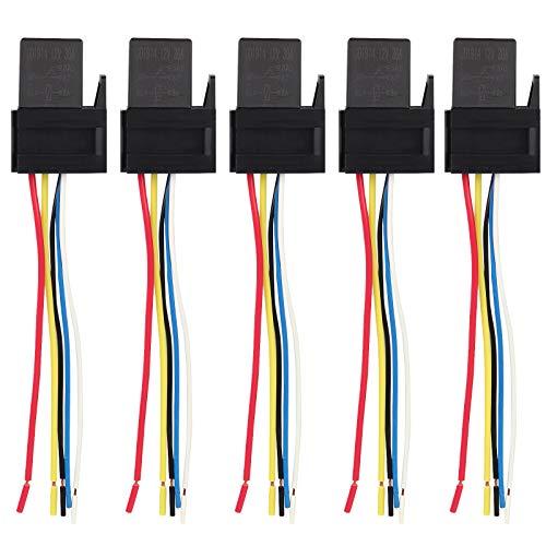 Ehdis 5 Pin Leitungen Kabel ReIaissockel Harness Stecker 12VDC 30A SPDT Multi-Purpose Heavy Duty Standard-Relay-Kits für Auto Automotive, 5 Packung - Heavy Duty Standard Kit