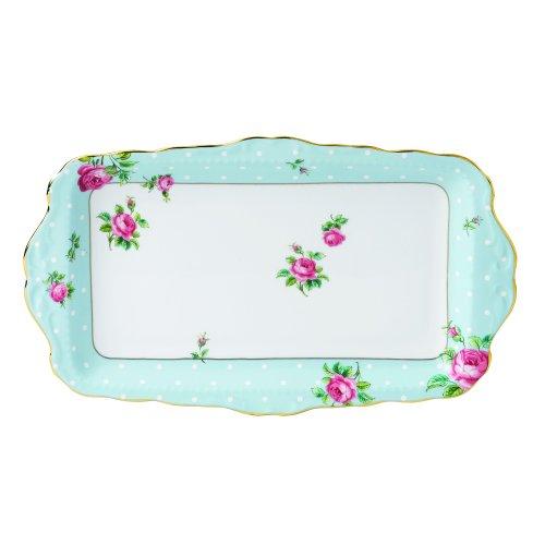 Royal Albert Tablett, Vintage, Sandwich, gepunktet, Blau China Sandwich Tray