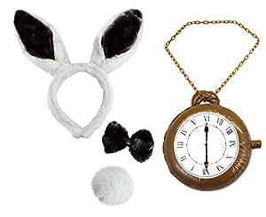White rabbit ears bow tie tail jumbo clock book week fancy dress set toys - Deguisement alice au pays des merveilles fait maison ...