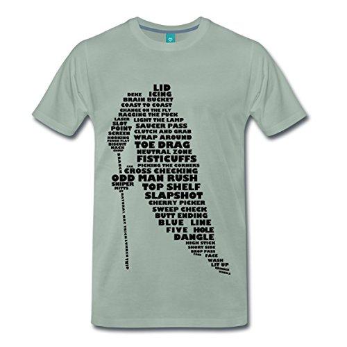 Spreadshirt Eishockey Terminologie Ice Hockey Begriffe Männer Premium T-Shirt, XL, Graugrün
