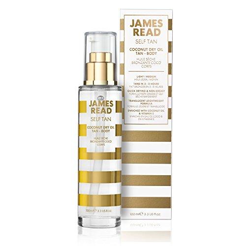 JAMES READ Kokos-Trockenölbräuner Körper 100 ml Selbstbräuner mit allmählichem Bräunungseffekt für natürliche Ganzkörper-Bräune, Schnell trocknende Formel, Lang anhaltende Bräune, Entwickelt sich über Nacht, Für alle Hauttöne