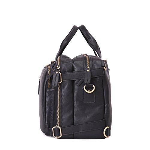 Leathario Besace en cuir véritable sac porte épaule sacoche pour PC portable sac bandoulière sac à dos sac à main pour hommes Noir