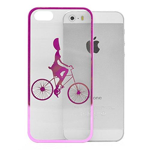 iProtect Schutzhülle Apple iPhone 5, 5s, SE Hülle Walking Dog Edition transparent pink Pink Fahrrad