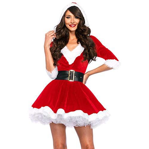 Damen Mrs. Santa Claus Kostüm, Kleid mit Kapuze und Gürtel, Rot Größe M/L (Mrs Claus Kostüm Mit Kapuze)
