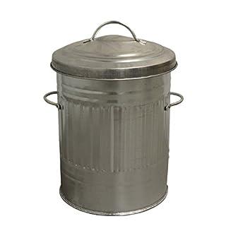 Small Silver 30L Litre Galvanised Metal Bin - Rubbish Waste Dustbin / Animal Feed / Lidded Storage