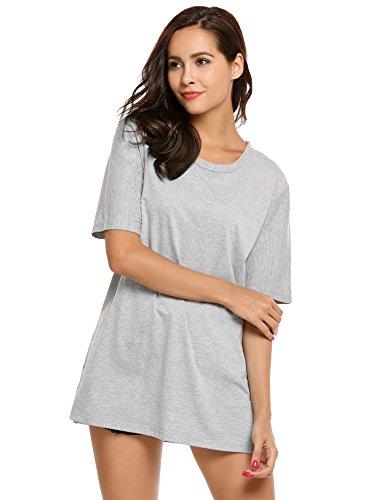 Finejo Damen Kurzarm T Shirt mit Hut Sommer Lose Oberteile Casual Longshirt Bluse Basic Tops (Medium, - T-shirt-kleid Mit Schlitzen